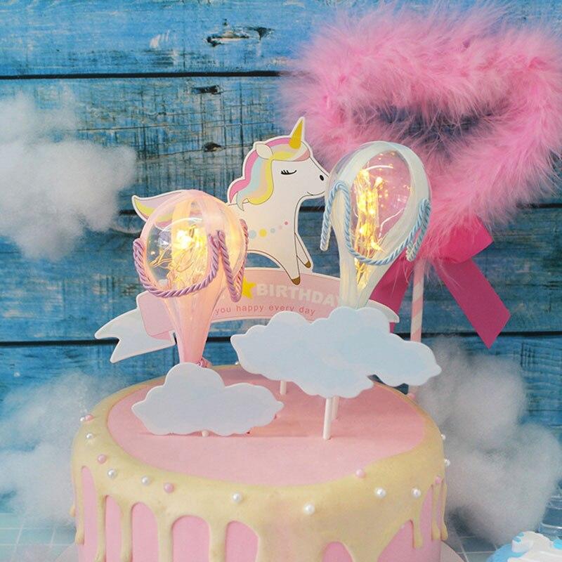 Super New Pink Blue Stereo Light Small Hot Air Balloon Cake Cap Birthday Funny Birthday Cards Online Necthendildamsfinfo