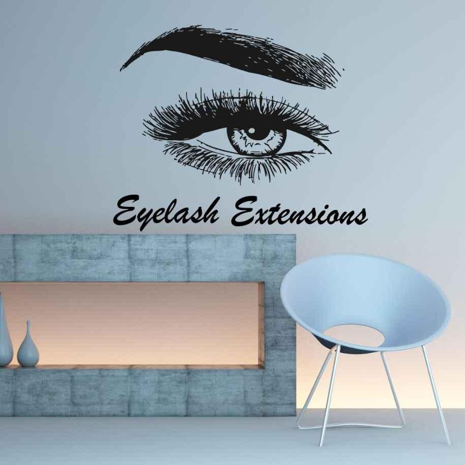 192a8489b70 Eyelash Extension Wall Decal Eyelash Wall Sticker Beauty Salon Decoration  Eye Eyebrows Women Make Up Eyebrows