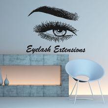 Eyelash Extension Wall Decal Eyelash Wall Sticker Beauty Salon Decoration Eye Eyebrows Women Make Up Eyebrows Wall Decor AY878