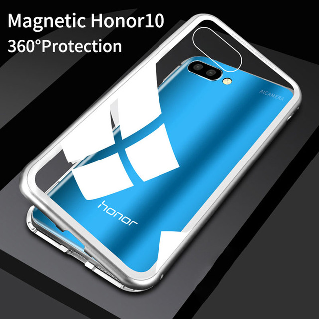 best service 0b6ea d78e4 US $12.95 |Magnetic Adsorption Flip Case for Huawei Honor 10 Tempered Glass  Back Cover Luxury Metal Bumpers for Huawei Honor10 Hard Case-in Flip Cases  ...
