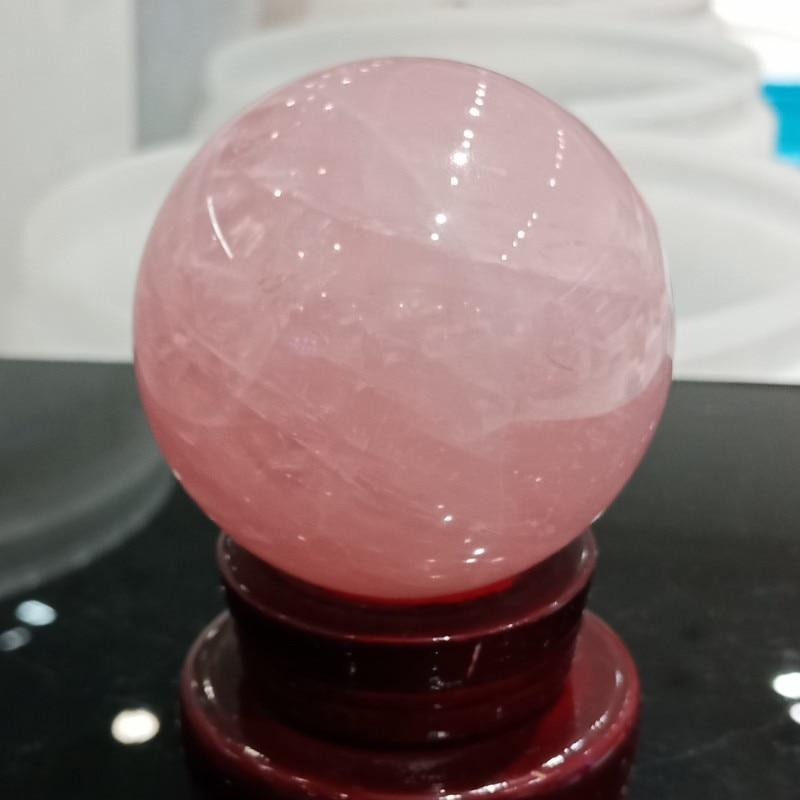 stand 47mm Natural Pink Rose Quartz Crystal Ball Sphere Healing Gemstones
