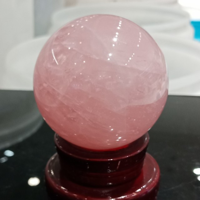 DHXYZB 55 60mm powder crystal with wood stand ofice kinds of natural pink crystal rose quartz sphere ball healing free shipping