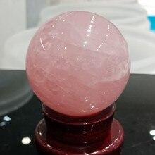 Dhxyzb 55 60mm 파우더 크리스탈 우드 스탠드 ofice 종류의 천연 핑크 크리스탈 로즈 쿼츠 구 공 치유 무료 배송