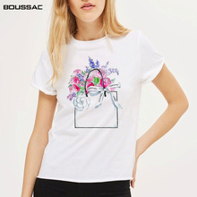 Women Clothes 2019 New Art Print of  Paper bag Tops tee Camelia Flowers Spring Watercolor Painting Casual Cotton Female T-shirt