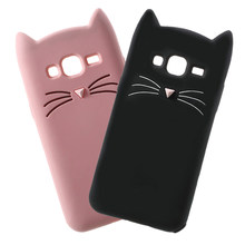 Cute 3D Beard Cat Ears Full Cover For Samsung Galaxy J1 J3 J5 J7 A3 A5 2016 2017 J2 Prime G530 S7 S8 S9 Plus Soft Silicone Case(China)