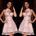 Fashion Halter Short Pink Homecoming Dresses Lace Appliques Homecoming Dress Pretty Graduation Dress Mini Party Gowns HC96
