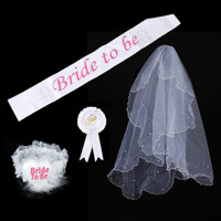 4 in 1 Hen Night Party Bruid om Sjerp Badge Rosette Kousenband Bruidssluiers Sets voor Hen Night Party Bruiloft Douche wit