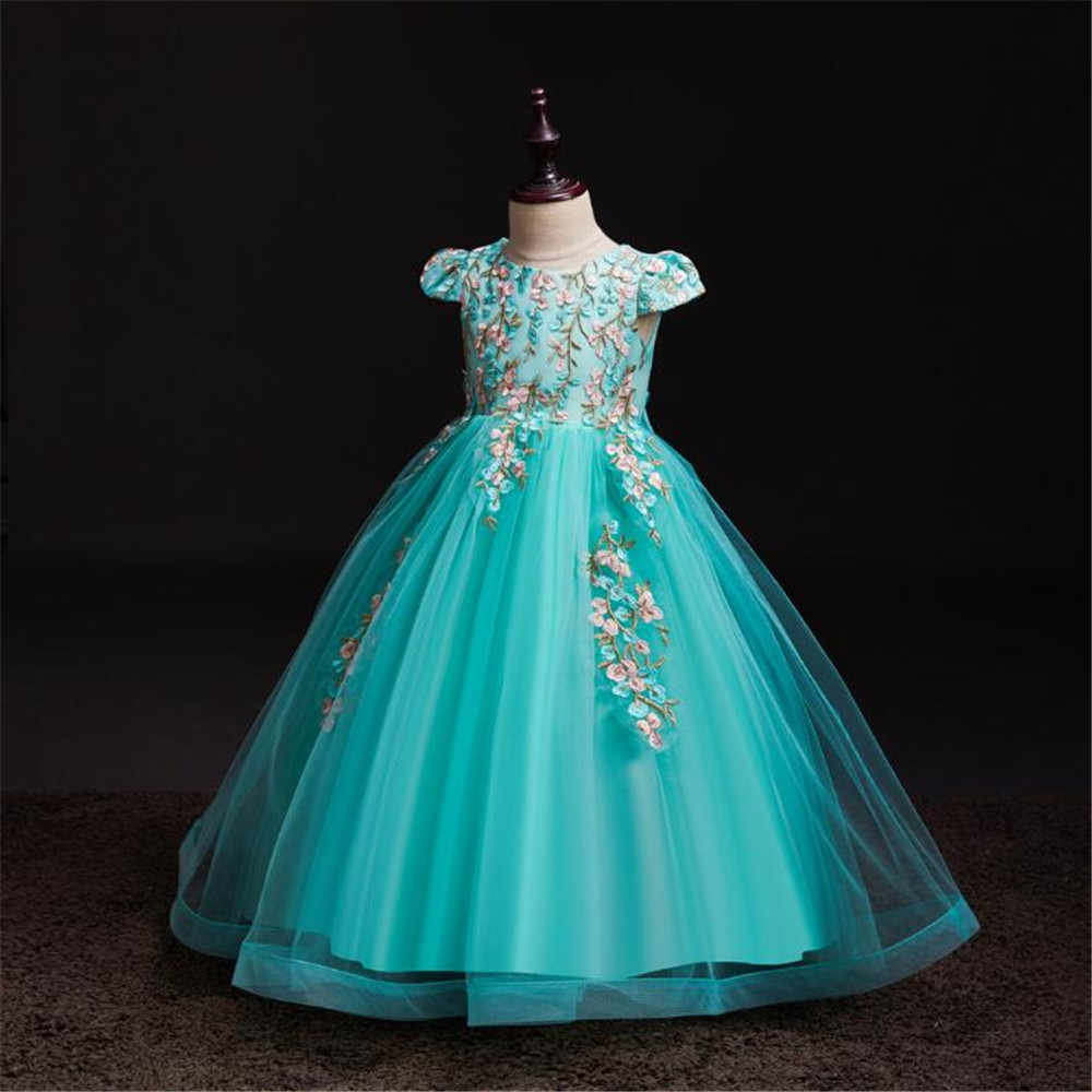 Girls Dress Teen Costume Children's Party Dress Princess Baby Girls Kids Lace Wedding Dresses Elegant Prom Dress