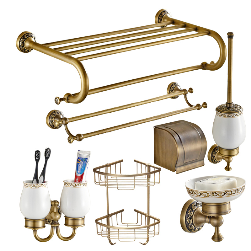 Bathroom hardware set Antique Brass Carved Bathroom Products wall mounted brass Bathroom Accessories set shelf towel rack A2D slimming narrow feet zipper fly special cross print purfle pocket men s casual long pants