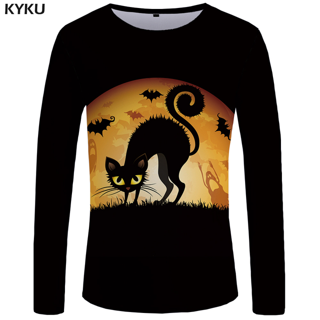 KYKU Brand Cat Long sleeve T shirt Halloween Clothes Moon T-shirts Black T shirts  Tops Tees  Tshirt Womens Print Casual Fashion