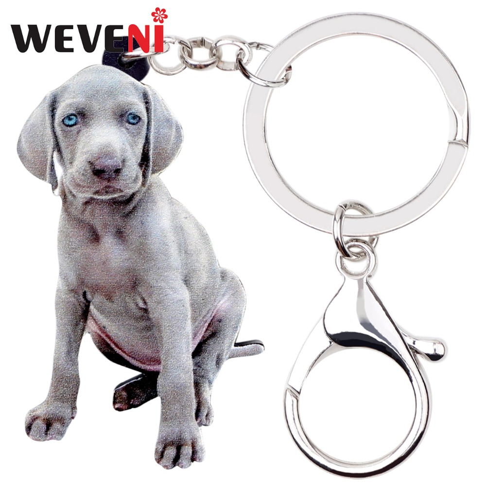 WEVENI Acrylic Sitting Weimaraner Dog Key Chain Keychain Ring Animal Jewelry For Women Girls Pet Lovers Bag Car Charms Wholesale