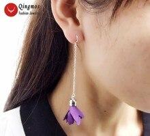 """Qingmos Trendy Silk Flower Tassel Earrings for Women with 20*30mm Purple Silk Flower Dangle 3.5"""" Earring Fine Jewelry-ear600"""