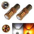 2X 1157 BAY15D S25 54LED 4014 SMD LED Car Auto Yellow Amber White Dual Color for Switchback Front Turn Signal Light Bulb Lamp