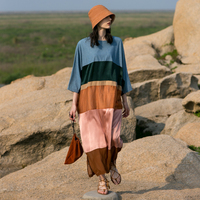 IRINAW064 new arrival summer 2018 original design casual oversize multi colored x long loose dress women