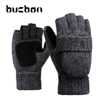 Winter Lover Gloves Men Women Knit Wool Glove For Xmas Gift Leather Palm Clamshell Fingerless Thicken