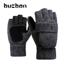 Winter Lover Gloves Men Women Knit Wool Glove For Xmas Gift Leather Palm  Clamshell Fingerless Thicken Warm Mitten Female AGB366