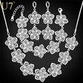 U7 Цветок Ожерелье Серьги Браслет Ювелирные Комплекты Для Женщин Свадебные Аксессуары Этнические Украшения S689