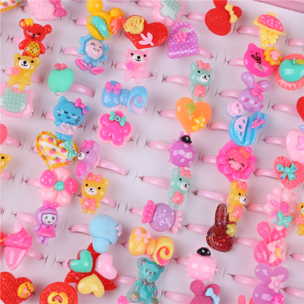 10 pcs Cute Children's Day Jewelry Plastic Kids Rings For Girls, With Mixed Style Resin Cabochons, Mixed Color
