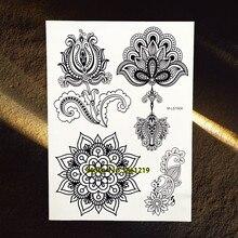 25 Styles Large Black Lotus Mandala Flower Arm Tattoos For Women Henna Tatoo Body Art Waterproof Fake Temporary Tattoo Stickers