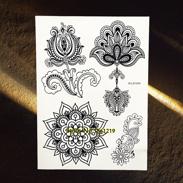 Tatuajes De Brazo De Flor De Loto De Mandala Negro Grande De 25