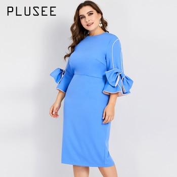 f0d93efce PLUSEE mujeres elegante O de cuello vestido de otoño arco manga fiesta  Formal vestido azul vestidos Plus tamaño vestido L-4XL