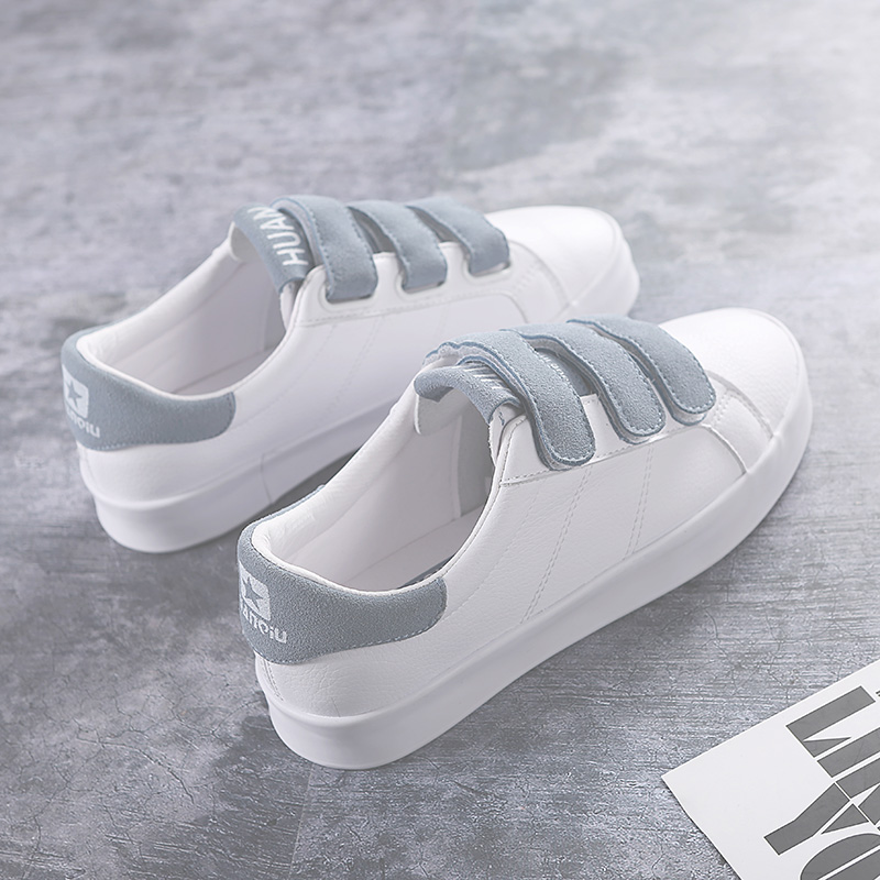 Women Sneakers Leather Hook Loop All Match Female Casual Shoes Concise Style Lady White Shoes Students 2018 New Fashion 35-39