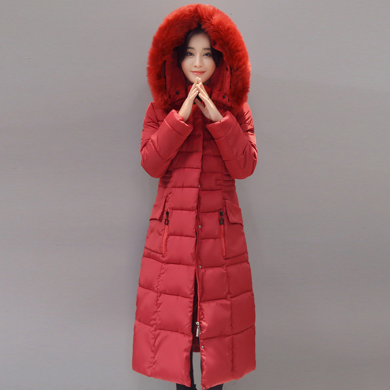 2017 New Winter Slim Women Cotton Jacket Coat Long Warm Padded Down Cotton Coat High Quality Fake Fur Collar Hooded Coat YP0342 long parka women winter jacket plus size 2017 new down cotton padded coat fur collar hooded solid thicken warm overcoat qw701