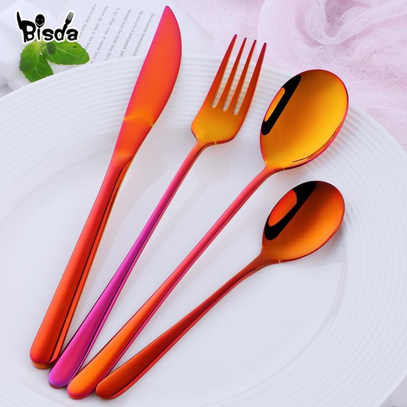 Stainless Steel Dinnerware 24 pcs Black Cutlery Set Fork Spoon Knife Set Western Tableware Party Table Utensils Home 2