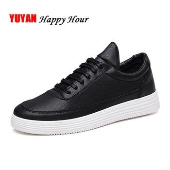 e80174f72 Hombres zapatillas cuero suave zapatos de moda para hombre marca zapatillas  de alta calidad de los hombres blancos negro A015