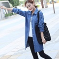 The spring of 2016 new Korean women's fashion wear long sleeved shirt jeans long coat
