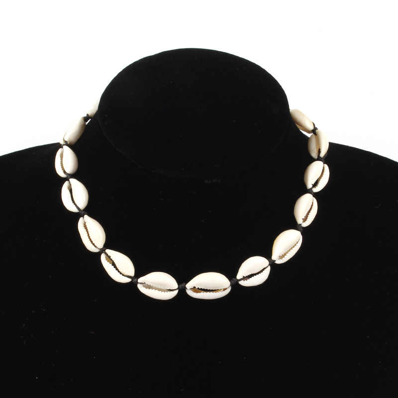 Fashion Jewelry Hawaiian Style Natural Shell Necklace Handmade Rope Pearl Shell Short Clavicle Choker Necklace