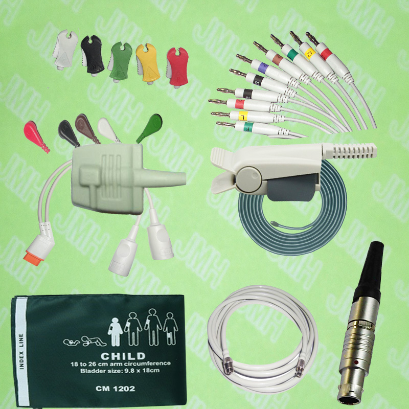 Spo2 Sensor,ECG/EKG/EEG Cable And Electrode,IBP Cable,NIBP Cuff,Temprature Probe,Holter Leadwires,Air Hose,medical Connectors.
