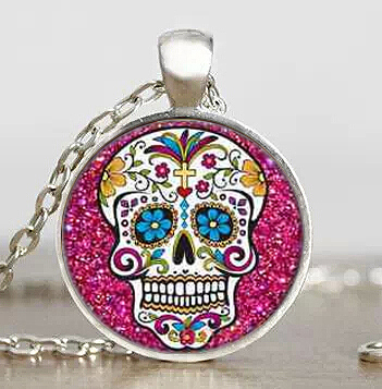 sugar skull movie jack skellington necklace pendant steampunk jewelry gift women mens the nightmare before christmas 4 color hot in pendants from jewelry - Christmas Sugar Skull