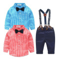Baby boy clothes 2PCS christmas Kids Toddler Long Sleeve Plaid T-shirt+Jeans Overalls Pants Costume Kids Clothing Set 7M-24M