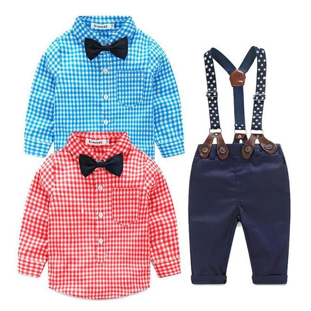 Baby boy clothes 2PCS christmas Kids Toddler Long Sleeve Plaid T-shirt+Jeans Overalls Pants Costume Kids Clothing Set 7M-24M