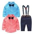 Bebê menino roupas 2 pcs crianças natal da criança t-shirt de manga comprida xadrez + calça jeans macacão calças crianças traje conjunto de roupas 7 m-24 m