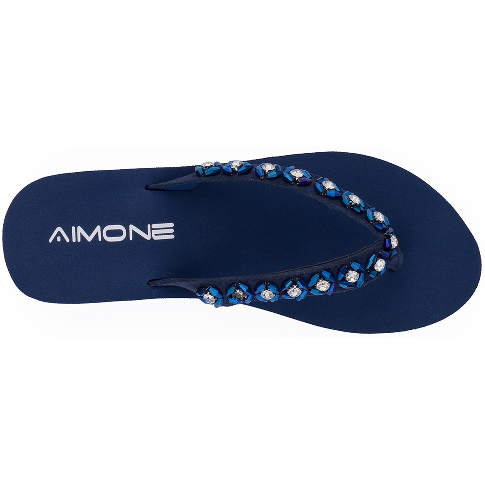 AIMONE Womens Habib Flower Crystal Mid Heel Flip Flop Sandals Beach Slippers Shoes Summer Sandals Flip Flops Lady Wedges Shoes in Flip Flops from Shoes