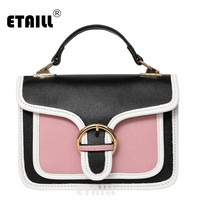 ETAILL 2017 Contrast Color Brand Women Saddle Bag Spring Summer Famous Design Patchwork Small Shoulder Bag Crossbody Bag White