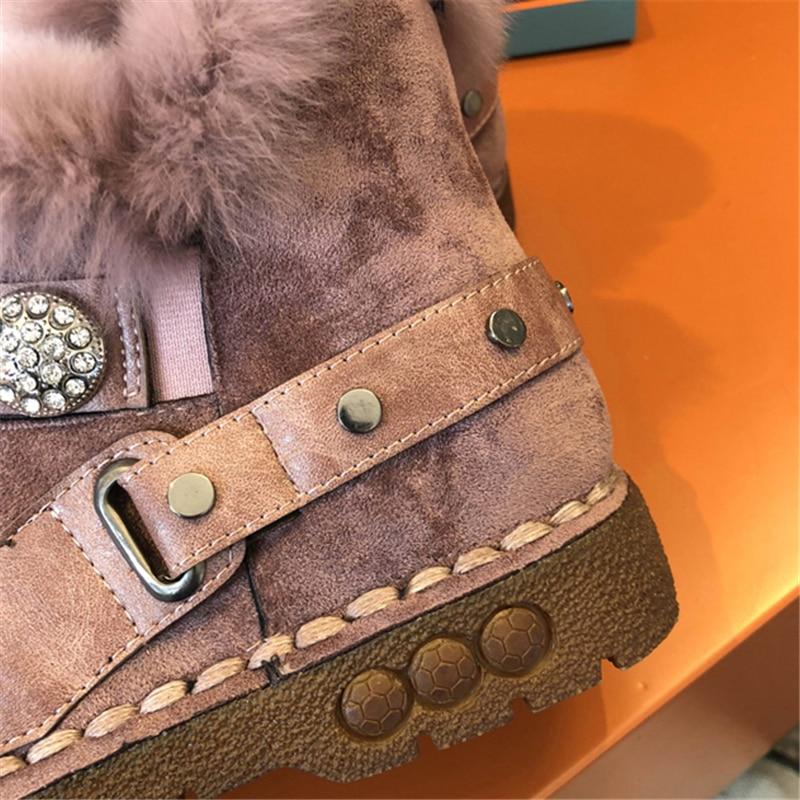 khaki Plate Mode Bottes Fourrure D'hiver Dames forme Lapin En Plat Peluche Neige De Noir pink Troupeau Black Femmes Cheville Chaussures Cristal Rq5xwTzqt