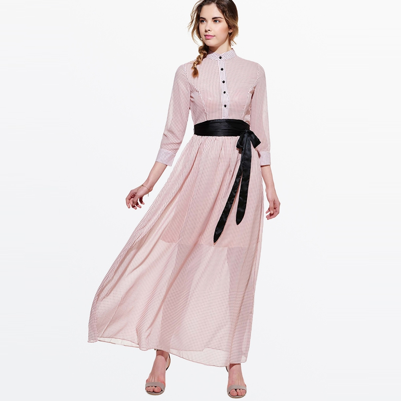 2308f15a42bed ... Women Pink Chiffon Maxi Dress Summer Holiday Elegant Sweet Expansion  A-line Dress Bowknot Slim Polka Dots Casual Long Dress. -35%. Click to  enlarge