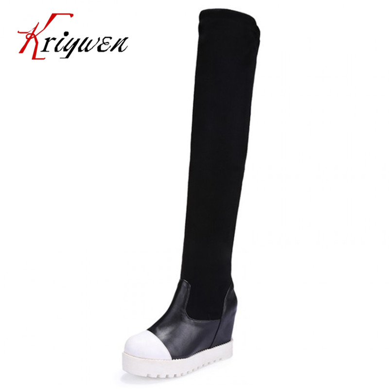 plus size 34-43 New Fashion 2016 Women Shoes Botas over the Knee High Boots Sexy Winter Stretch Fabric Pumps Zapatos Mujer
