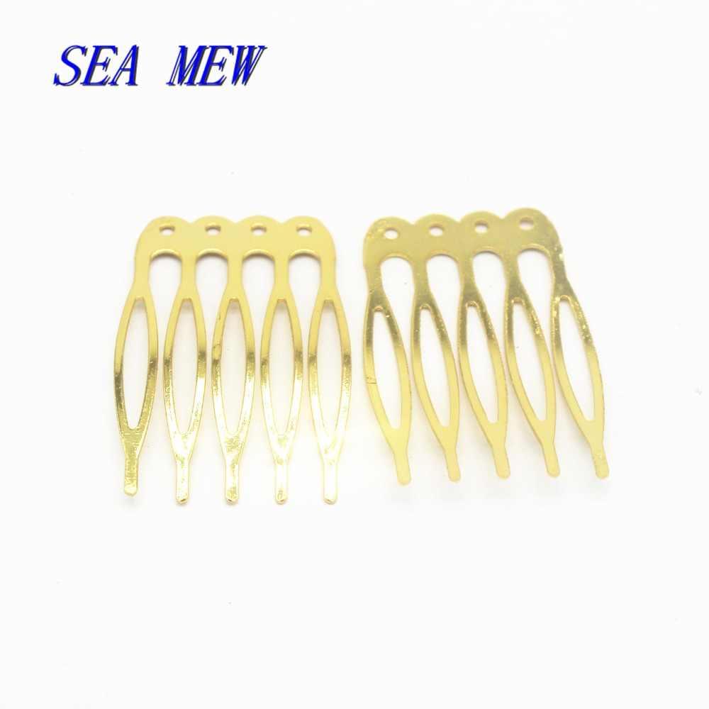 50 Uds. 40*16mm peines de Metal de hierro Base en blanco 5 dientes para mujeres peine de pelo para boda para hacer joyas