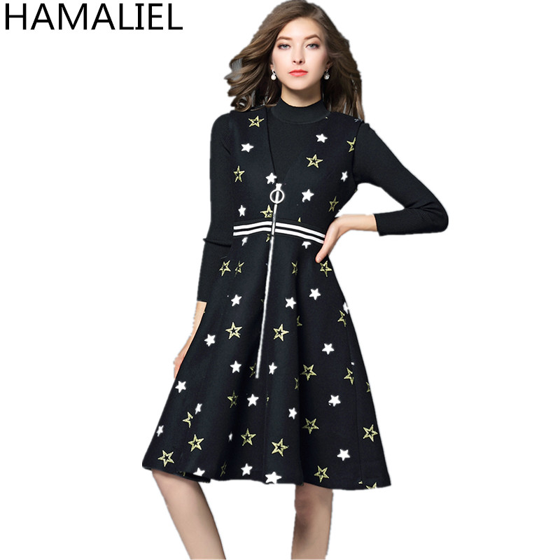 1339cd63a9b2f4 Automne Tricot Culture Broderie Ensemble Robe Femmes 2018 Robes ...
