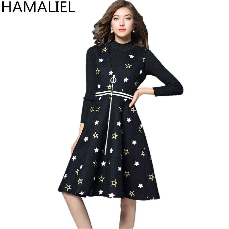 HAMALIEL Vestidos femmes 2 pièce ensemble robe 2018 automne hiver noir tricot pull Crop + Tweed broderie étoiles gilet jupe ensemble