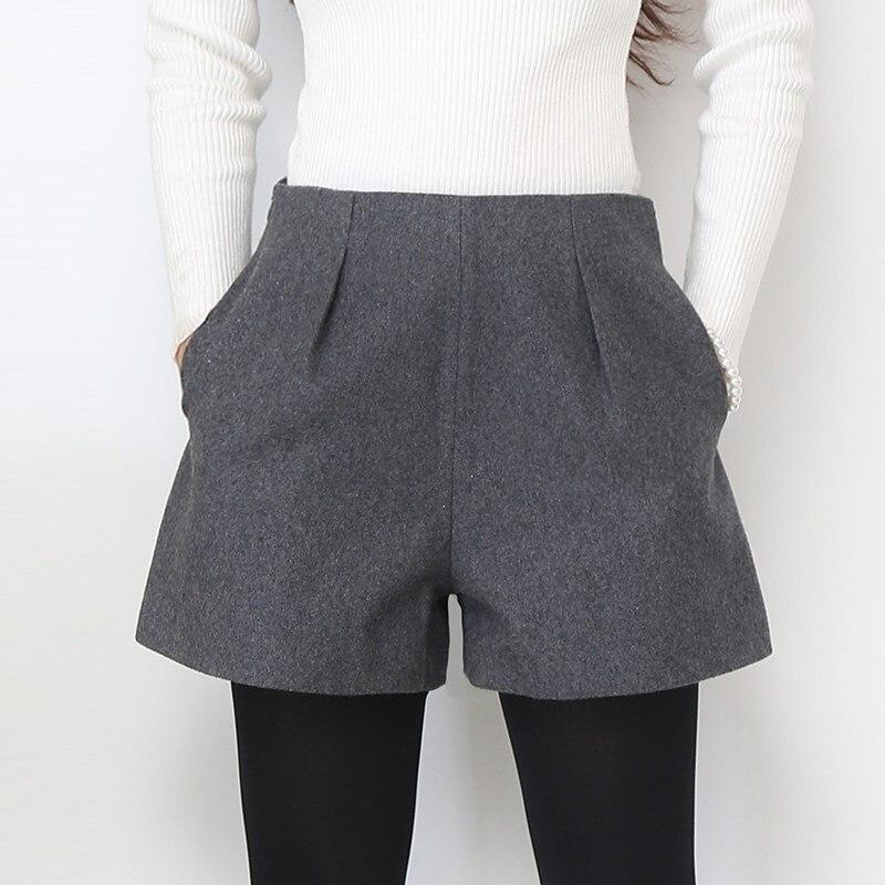 High Waist Woolen Shorts Plus Size Casual Shorts Autumn Winter Fashion Grey&Black Woolen Shorts Women Slim Hip Shorts S-XXXL