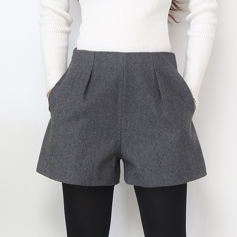 High Waist Woolen   Shorts   Plus Size Casual   Shorts   Autumn Winter Fashion Grey&Black Woolen   Shorts   Women Slim Hip   Shorts   S-XXXL