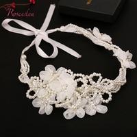 Kość słoniowa Symulowane Pearl Handmade Bridal Hair Band Europa Style Panie Piękne Białe Kwiaty Włosów Accessoies Używać do RE270 Updo