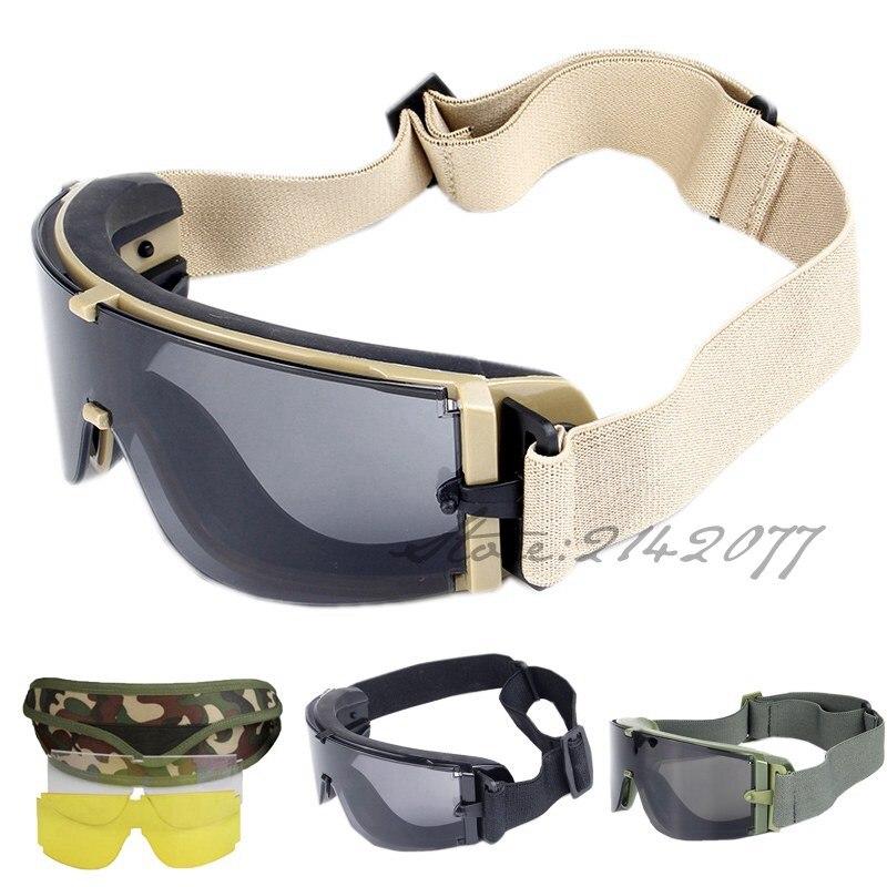 Prix pour Noir Tan Vert Militaire Lunettes 3 lentille lunettes de Soleil De L'armée Tactique Lunettes Visière Pour Wargame Airsoft Tir