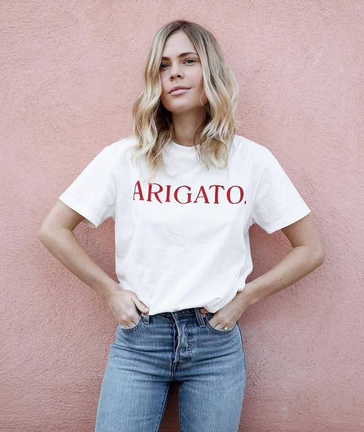 New Summer T Shirt U0026quot;ARIGATOu0026quot; Women Fashion T Shirt Tumblr Girls Tops Summer Outfits Casual Girls ...