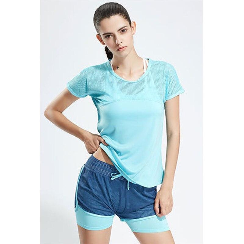 Mesh Ventilation Gym Set Women Sportswear Fitness Clothes For Women Shirt+Short Jogging Workout Yoga Set Sport Suit Plus Size